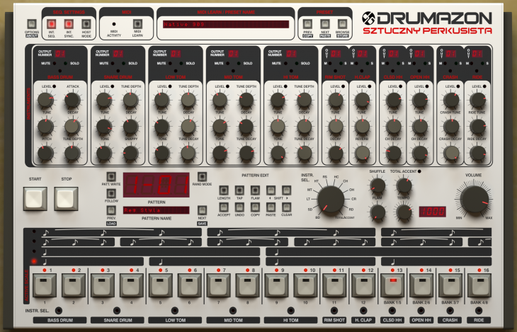 Techno Gear Overview – Drumazon Drum sequencer by D16 – 909 Emulator
