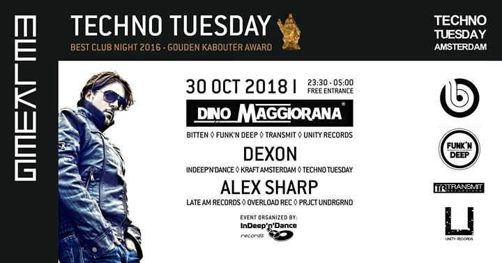 Techno Tuesday Amsterdam I Dino Maggiorana (IT), 30 Oct, Melkweg