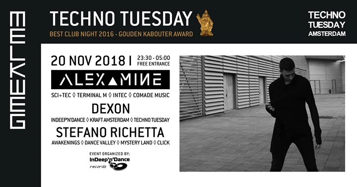 Techno Tuesday Amsterdam I Alex Mine (IT), 20 Nov, Melkweg