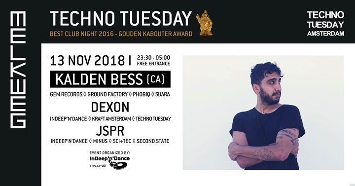 Techno Tuesday Amsterdam I Kalden Bess (CA), 13 Nov, Melkweg